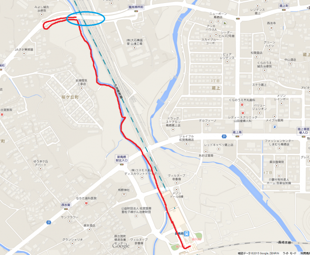 青丸-目的地である跨線橋 赤線-徒歩で目的地までの経路